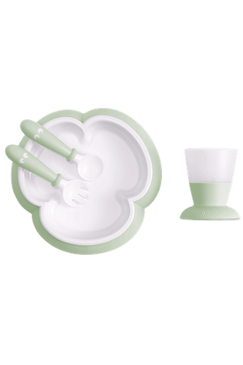 Baby feeding set with smart design makes self-feeding easy Powder green - BABYBJÖRN