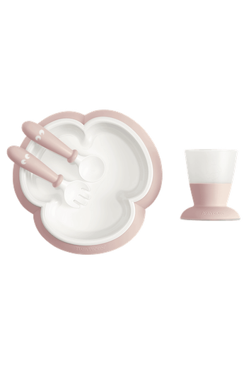 Baby feeding set with smart design makes self-feeding easy Powder pink - BABYBJÖRN