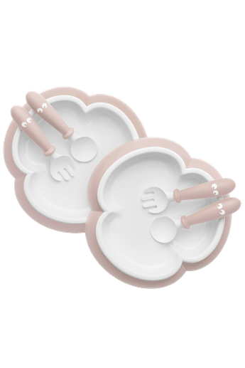 Baby Plate, Spoon and Fork, 2 sets, Powder pink, with smart design which makes self-feeding easy - BABYBJÖRN
