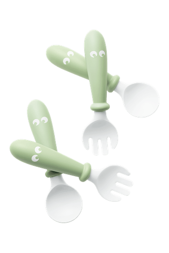 Baby spoon and fork that are easy to grip, 4 pcs, Powder green - BABYBJORN