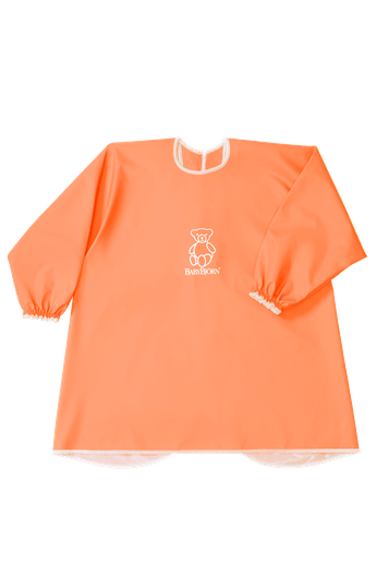 BABYBJÖRN Long Sleeve Bib in orange BPA-free plastic, bib and apron in one, covers both front and back.
