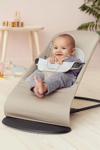 Bouncer Balance Soft Beige/Gray Cotton Jersey - BABYBJÖRN