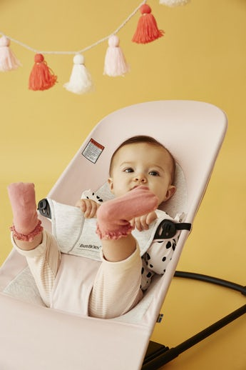 Bouncer Balance Soft Pink/Light Gray Cotton Jersey - BABYBJÖRN