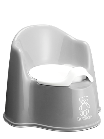 BABYBJÖRN Potty Chair in gray, a sturdy and easy to clean potty with both backrest and splashguard.