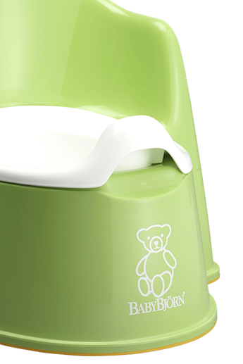 BABYBJÖRN Potty Chair in green, a sturdy and easy to clean potty with both backrest and splashguard.
