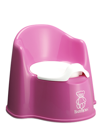 BABYBJÖRN Potty Chair in pink, a sturdy and easy to clean potty with both backrest and splashguard.