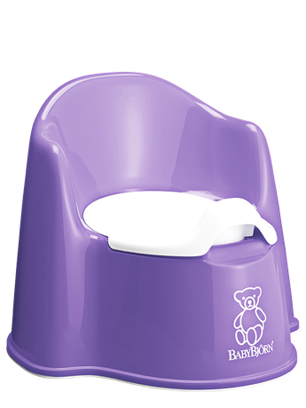 BABYBJÖRN Potty Chair in purple, a sturdy and easy to clean potty with both backrest and splashguard.