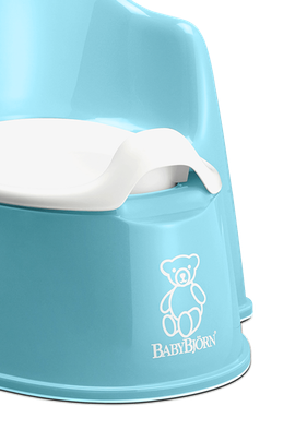 BABYBJÖRN Potty Chair in turquoise, a sturdy and easy to clean potty with both backrest and splashguard.
