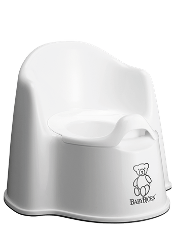 BABYBJÖRN Potty Chair in white, a sturdy and easy to clean potty with both backrest and splashguard.