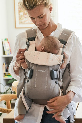 Baby Carrier One Classic Gray Pink Sprinkles Cotton Mix - BABYBJÖRN