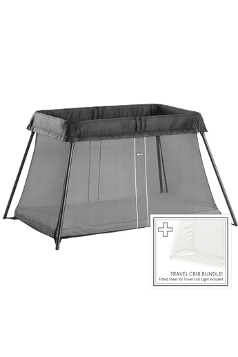 Travel Crib Light Black Bundle with Sheet - BABYBJÖRN