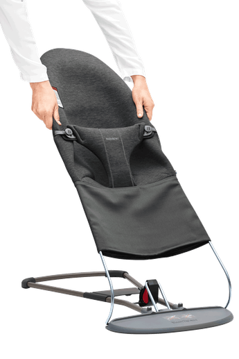 Extra Fabric Seat Baby Bouncer Charcoal Gray in 3D jersey - BABYBJÖRN