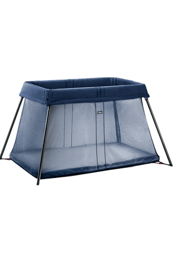 Travel Cot Light Dark Blue in airy mesh - BABYBJÖRN