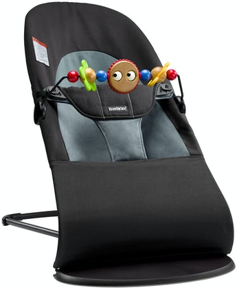 Bouncer Balance Soft Black/Dark Gray Cotton with Toy Googly Eyes bundle - BABYBJÖRN
