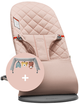 Bouncer Bliss Old Rose in quilted cotton with cute toy Soft Friends combined - BABYBJÖRN