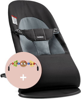 Bouncer Balance Soft Black/Dark gray Cotton combined with toy Googly Eyes - BABYBJÖRN