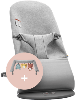 Bouncer Bliss Light Gray in supersoft 3D Jersey with cute toy combined - BABYBJÖRN