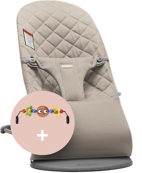 Bouncer Bliss Sand Gray Cotton combined with toy Googly Eyes - BABYBJÖRN