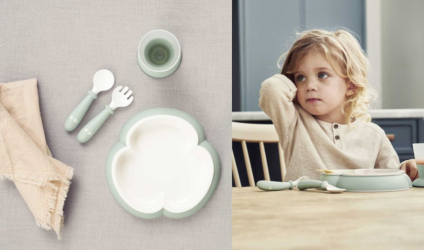 Baby feeding Set in Powder Green