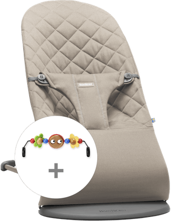 Bouncer Bundle in Sand grey cotton with toy googly eyes - BABYBJÖRN