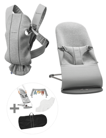 Starter Kit Medium for Newborns with Baby Carrier Mini and Bouncer Bliss in supersoft 3D jersey!