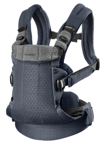 Baby Carrier Harmony in Anthracite soft 3D Mesh with padded shoulder straps and best comfort for you and your baby