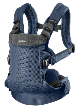 Baby Carrier Harmony Navy blue carrier in soft-structured, luxurious mesh—ergonomic for you and your baby.