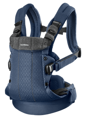 Baby Carrier Harmony in Navy blue soft and airy 3D Mesh with 4 carrying positions incl back carrying
