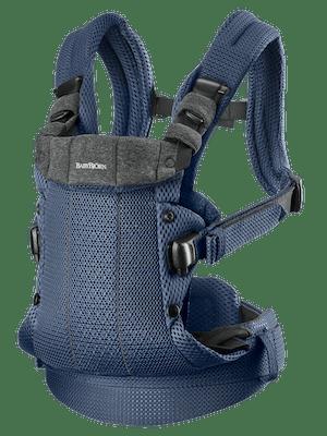 Porte-bébé Harmony Bleu marine 3D Mesh avec un support lombaire rembourré et une conception physiologique.