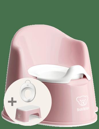 Kit d'apprentissage de la propreté Rose Pastel/Blanc