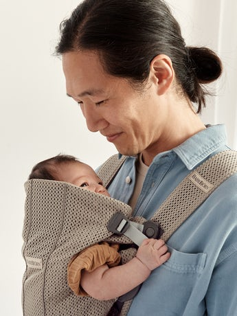 Baby Carrier Mini Grey beige in 3D Mesh - perfect for newborn and easy to use