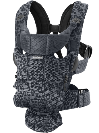 Baby Carrier Free Anthracite Leopard, an ergonomic, user-friendly and flexible baby carrier in soft 3D mesh