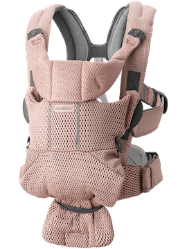 Baby Carrier Free Dusty pink, an ergonomic, user-friendly and flexible baby carrier in soft 3D mesh