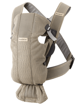 Baby Carrier Mini Gray beige in 3D-mesh, perfect for newborns, soft and airy