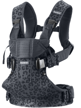 Baby Carrier One Air Anthracite Leopard in 3D-mesh with three babywearing positions incl back carrying