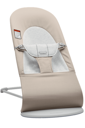 Bouncer Balance Soft in Beige Gray Cotton/Jersey and Light gray frame