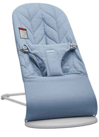 Bouncer Bliss Blue Cotton Petal quilt with Light gray frame