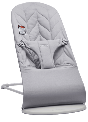 Bouncer Bliss in Light Gray Cotton Petal Quilt with Light gray frame