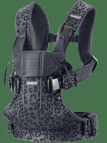 Porte-bébé One Air Anthracite/Léopard Filet 3D, avec quatre positions de portage