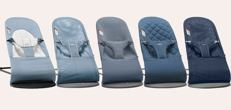 Bouncers in blue tones - baby bouncer guide